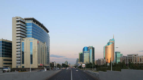 City traffic at Sunset. Kunaev Avenue, Astana, Kazakhstan. Time Lapse Footage