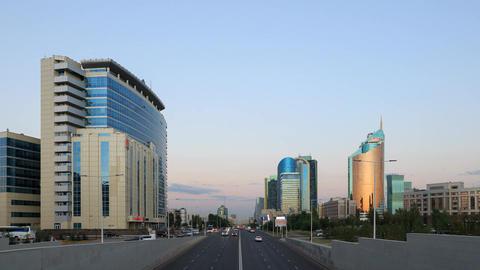 City traffic at Sunset. Kunaev Avenue, Astana, Kazakhstan. Time Lapse Footage