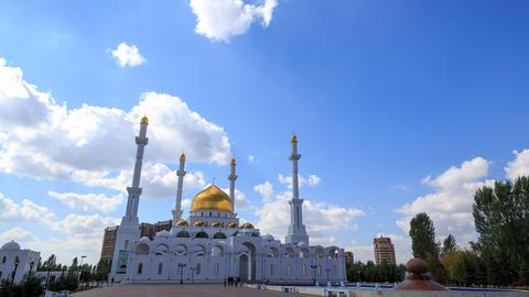 Nur Astana Mosque in Astana, Kazakhstan. Time Lapse Footage