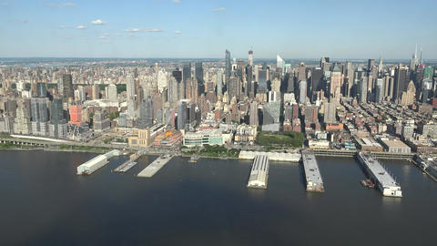 Midtown Manhattan And Piers On River Footage