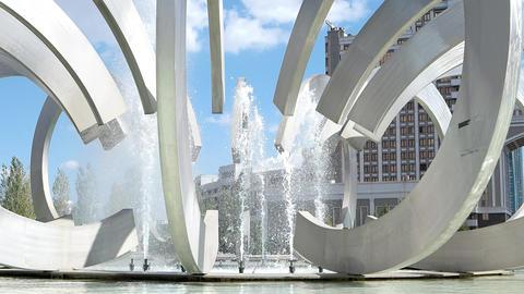 Astana, Kazakhstan - September 5, 2016: Fountain of Love Park Footage