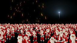 Santa Claus Crowd Dacing, Christmas Party cam fly over, fireworks display Animation