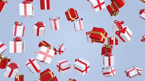 Gifts falling from the sky. Red and white Christmas gifts. Seamless loop. 4K Animation