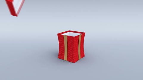 Red gift box with golden ribbon opening. 4K Animation