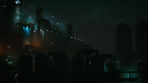 Petrochemical industry factory at night Live Action