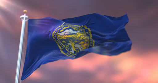 Flag of Nebraska state at sunset, region of the United States - loop Animation