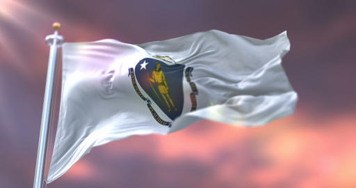 Flag of american state of Massachusetts at sunset, United States - loop Animation