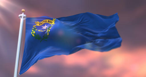 Flag of Nevada state at sunset, region of the United States - loop Animation