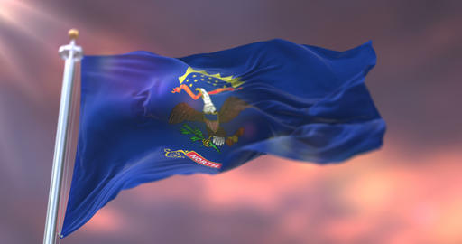 Flag of North Dakota state, region of the United States, waving at sunset - loop Animation