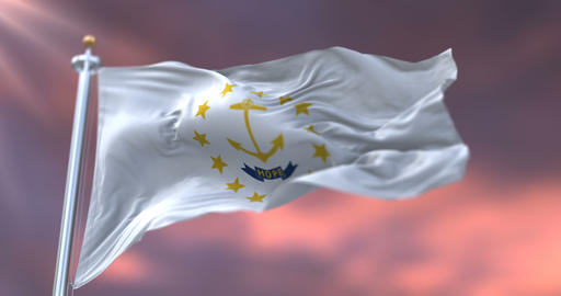 Flag of Rhode Island state at sunset, region of the United States - loop Animation