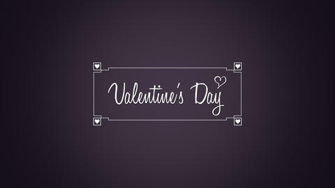 Animated closeup Happy Valentines Day text and motion heart with frame on Valentines day background Animation
