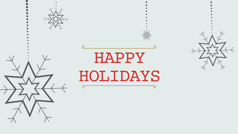 Animated closeup Happy Holidays text and white snowflakes with snow on holiday background Animation