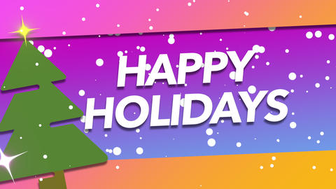 Animated closeup Happy Holidays text and white snowflakes with tree and gift on holiday background Animation