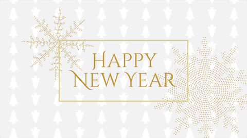 Animated closeup Happy New Year text and gold snowflakes with on holiday black background Animation