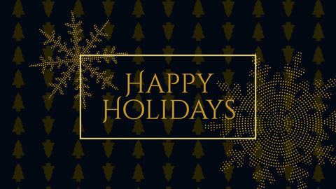 Animated closeup Happy Holidays text and gold snowflakes with on holiday black background Animation