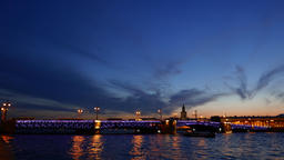 Illuminated Palace Bridge at evening twilight, nice sky colours, city lights Footage
