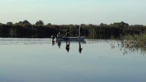 Fishermen on a boat Footage