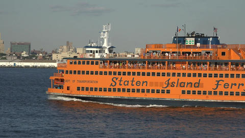 Staten Island Ferry And Passengers Live Action