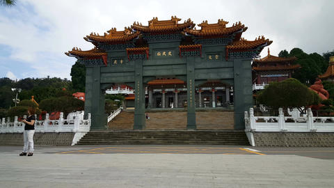 Wenwu Temple exterior with tourists Footage