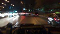 Timelapse of car driving in night city, inside view Footage