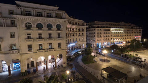 Timelapse in Thessaloniki, Greece seen evening city with architectural buildings Footage