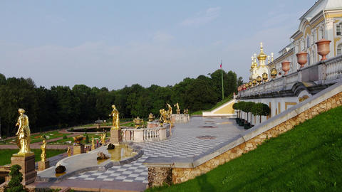 Panning shot from palace to Great Cascade perspective, at Peterhof landmark Footage