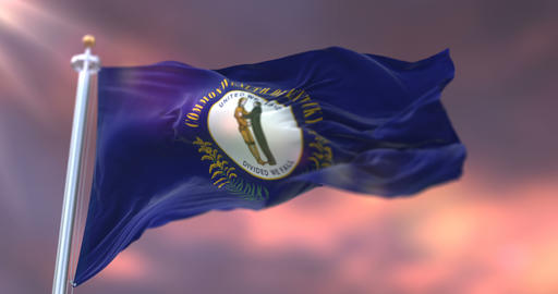 Flag of american state of Kentucky at sunset, region of the United States - loop Animation