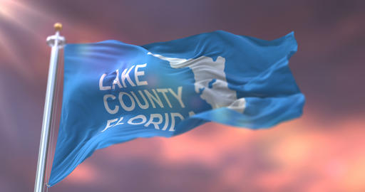 Flag of Lake County of the state of Florida, in United States at sunset - loop Animation