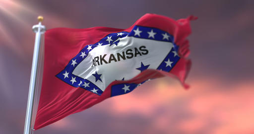Flag of Arkansas state, region of the United States, waving at sunset - loop Animation