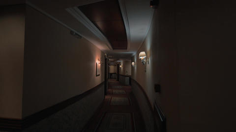 Hotel hallway in dim light Live Action