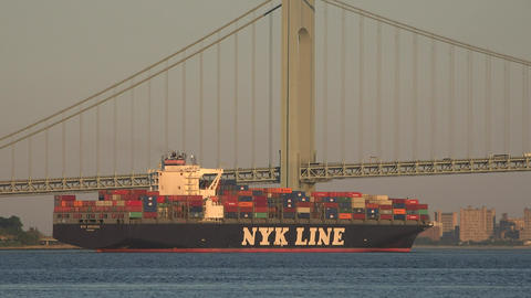 Cargo Freighter And Suspension Bridge Live Action
