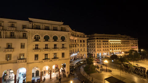 Timelapse in Thessaloniki, Greece seen panorama of evening city with architectur Footage