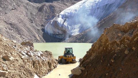 Glacier Moraine Lake Tractor 4K Footage