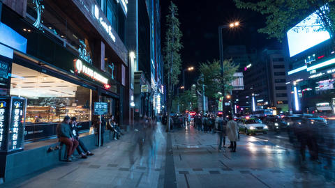 Hyperlapse of walking in crowded street at night. Seoul, South Korea 영상물