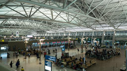 Timelapse of airport, seen people waiting for the flight Footage