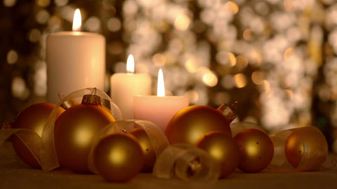 Christmas Still Life with Candles and Golden Balls Footage