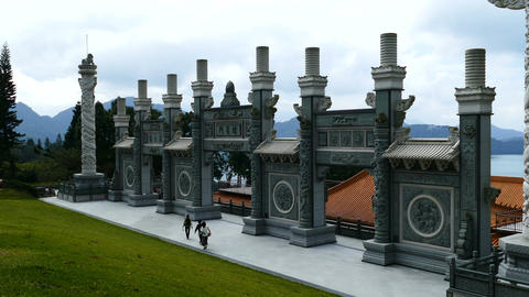 Pillars in the garden of temple Wenwu Footage