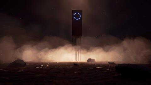 Modern futuristic space portal on another planet Night time Animation