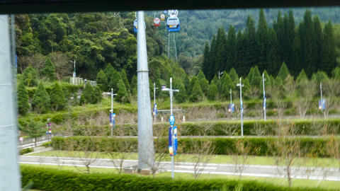 Cable car station of Yuchi, view from inside cable car Footage