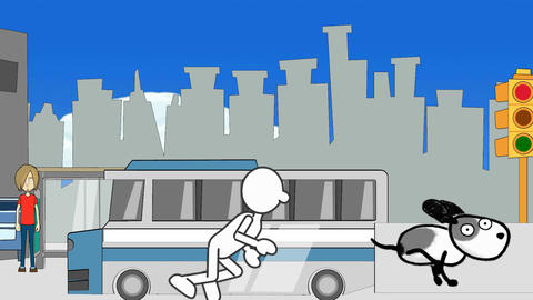 Simply Drawn Man, Chasing Dog (City Background): Looping Animation