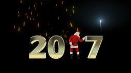 Santa Claus Dancing 2017 text, Dance 6, fireworks display Animation
