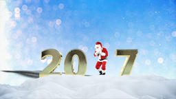 Santa Claus Dancing in the snow, forming 2017, holiday greeting card Animation
