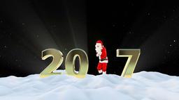 Santa Claus Dancing 2017 text, Dance 1, winter landscape... Stock Video Footage