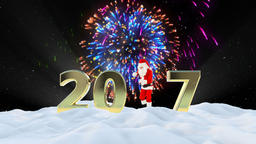 Santa Claus Dancing 2017 text, Dance 1, winter landscape and fireworks Animation