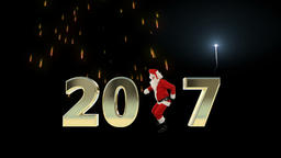 Santa Claus Dancing 2017 text, Dance 4, fireworks display Animation