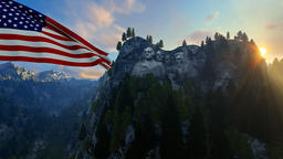 Mount Rushmore with USA Flag blowing in the wind against blue sky Animation