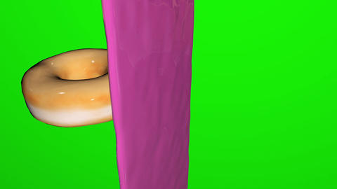 donut decorated doughnut pink green screen glazed donut cake big doughnut decorated pink Animation