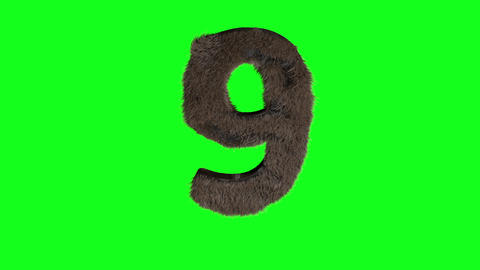 Abstract number digit 9 nine sign hairy number 9 one green screen 9 nine green screen hairy green Animation