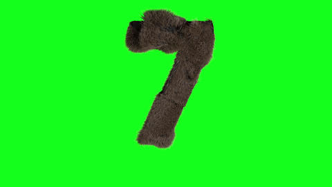 Abstract number digit 7 seven sign hairy number 7 seven green screen seven green screen hairy Animation