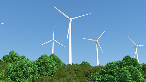 wind turbine generating clean renewable energy. alternative energy sources Animation
